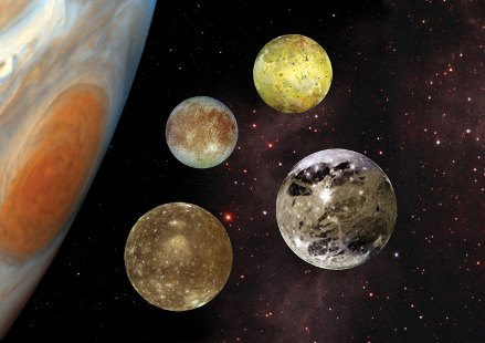 Galliean moons of Jupiter shown next to Jupiter
