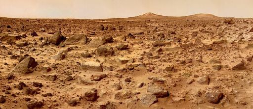 Red and rocky surface of Mars taken from the Pathfinder