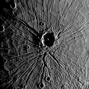 Crater on planet Mercury