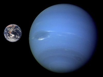 Neptune compared in size to Earth